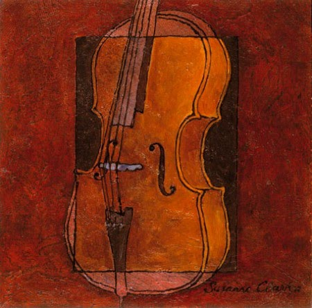 traditional painting of a cello by susanne clark