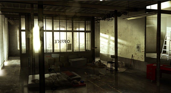 benoit godde illustration interior abandoned warehouse