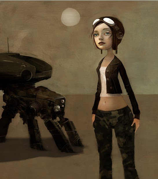 illustration of a female pilot near a robot
