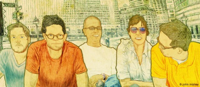 family portrait illustration in a big city by artist john malloy