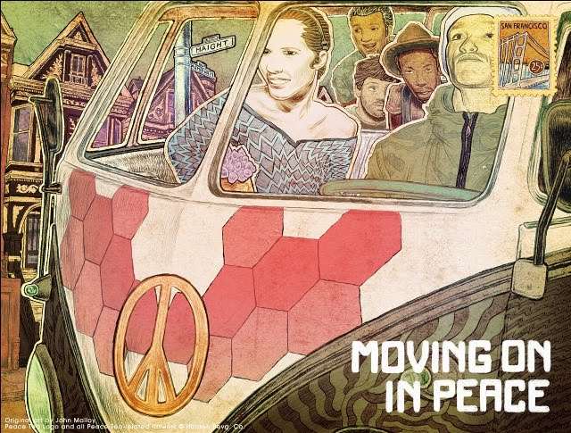 illustrated art by john malloy of people in a volkswagon bus promoting peace