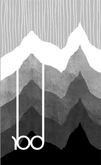 black and white illustration of peaks