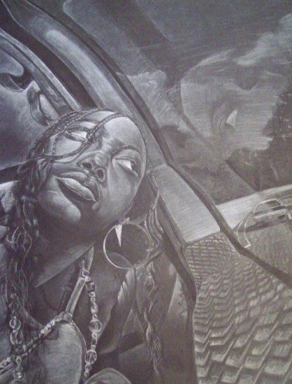 drawing of a girl in a car looking out the window by artist mark stewart