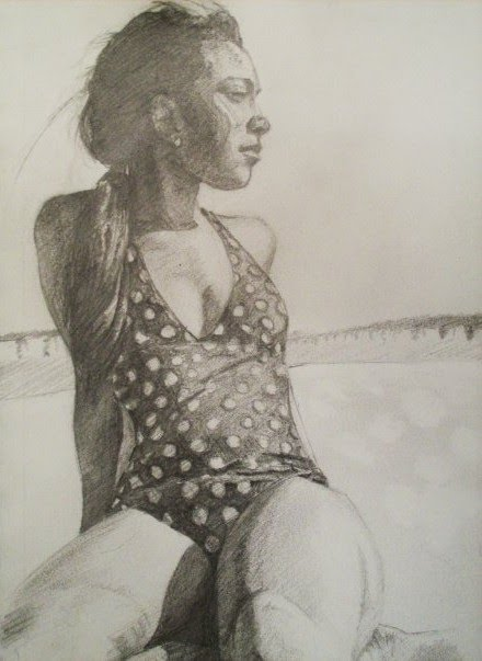 drawing of a girl on a beach in a bathing suit looking across the sand by artist mark stewart