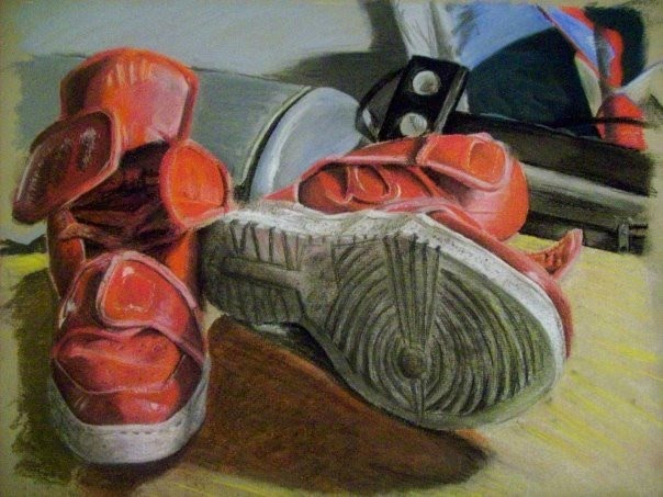 colored drawing of a red pair of shoes by mark stewart
