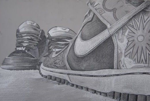 detailed drawing of two Nike shoes by artist mark stewart