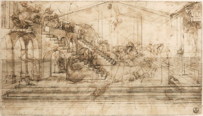 architectural pencil drawing leonardo da vinci