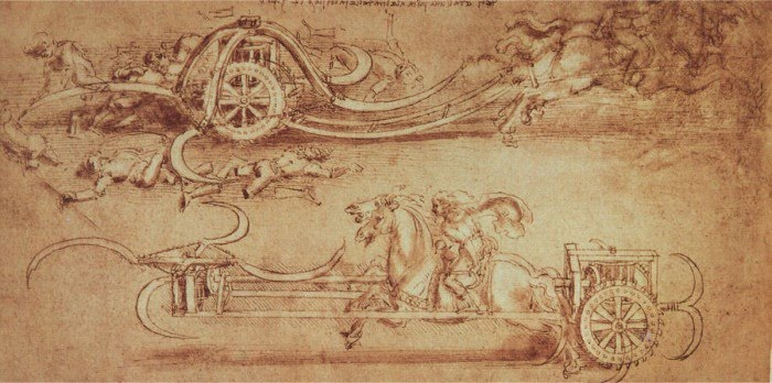 drawings leonardo da vinci military battle chariots horses