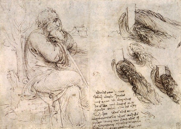pencil drawings leonardo da vinci old man water currents
