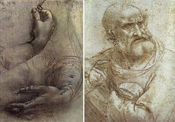 drawing hands leonardo da vinci drawing old man beard
