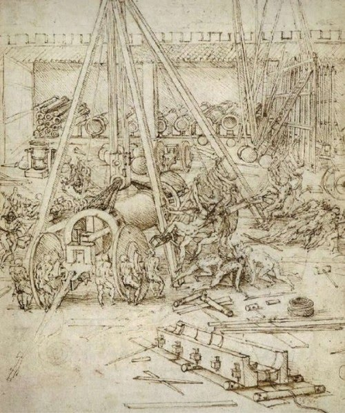 drawing leonardo da vinci modern design siege machine