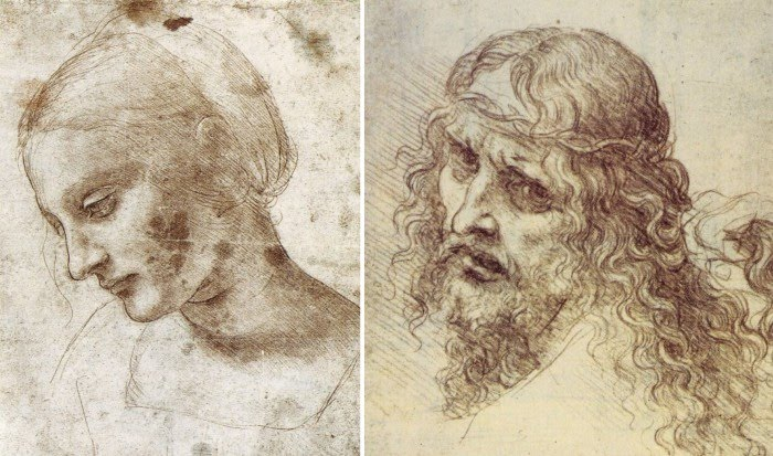 figurative drawings leonardo da vinci woman and man