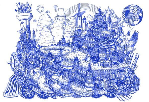 illustration fantasy train city