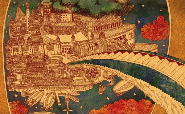 illustration golden floating city hot air ships