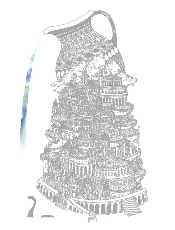illustration fantastic towering greek city
