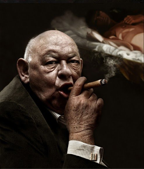 award winning photo of man smoking cigar