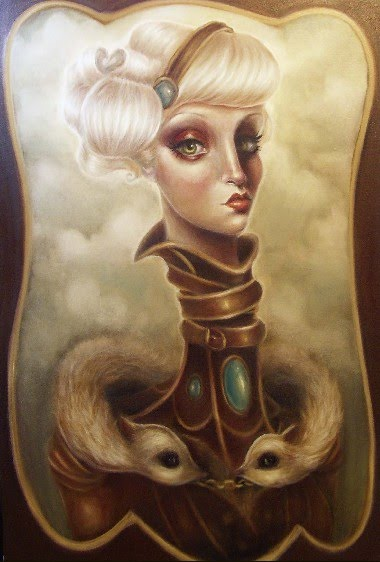 surreal portrait oil painting by elizabeth caffey of a white haired woman with very long neck and two animals looping around her shoulders