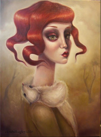 figurative painting of a red headed girl with twisting red hair painted by elizabeth caffey