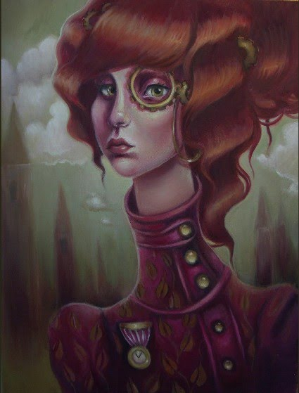 illustrated painting of a red headed girl with an eye glass painted by artist elizabeth caffey