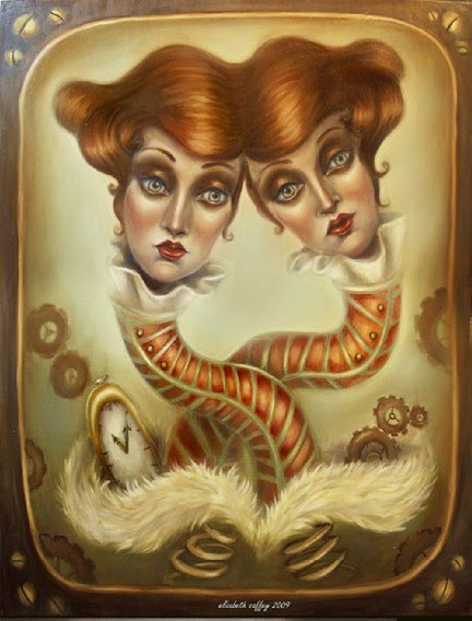 surreal portrait painting of twin girls with elongated necks and a time piece painted by elizabeth caffey
