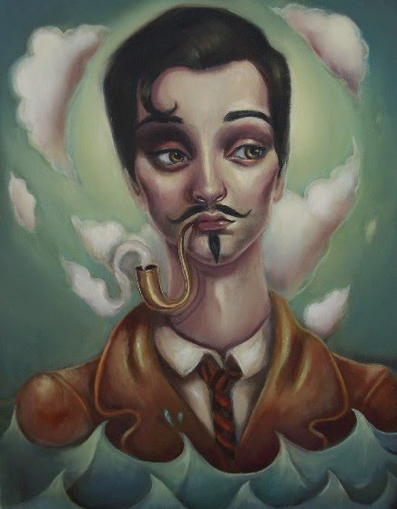 surreal portrait painting by elizabeth caffey of a man with a pipe and smoke coming out of his pipe which form into clouds that swirl around his head
