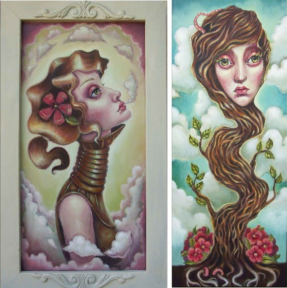 two figurative paintings by elizabeth caffey of girls with long necks one breathing out clouds and the other with a tree neck that grows tall and sprouts the girls face at the top
