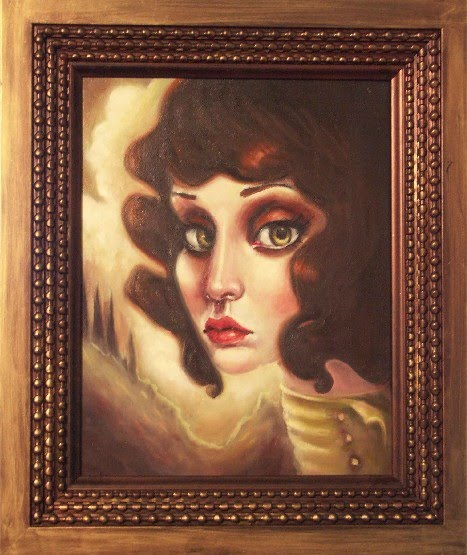 surrealist and realistic portrait painting of a girl by elizabeth caffey