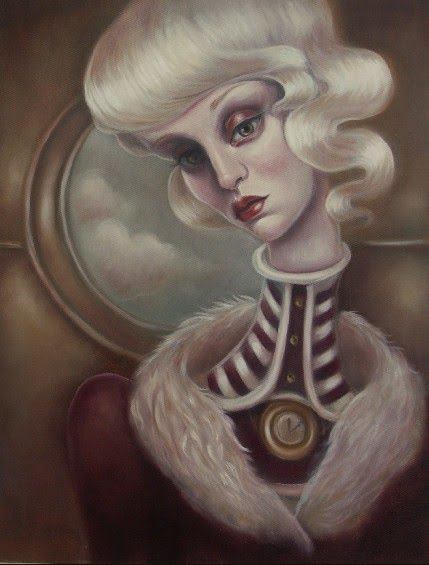 illustrated portrait white haired girl long neck wearing fur coat and standing in front of a circular window with clouds painted by artist elizabeth caffey