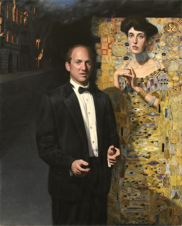 oil painting by lance richlin of a middle aged man in a tux standing in front of another painting of a woman in a elegant gown