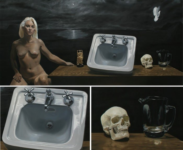 oil painting nude woman sitting next to a table with budha, porcelain sink, human skull and white dove flying above