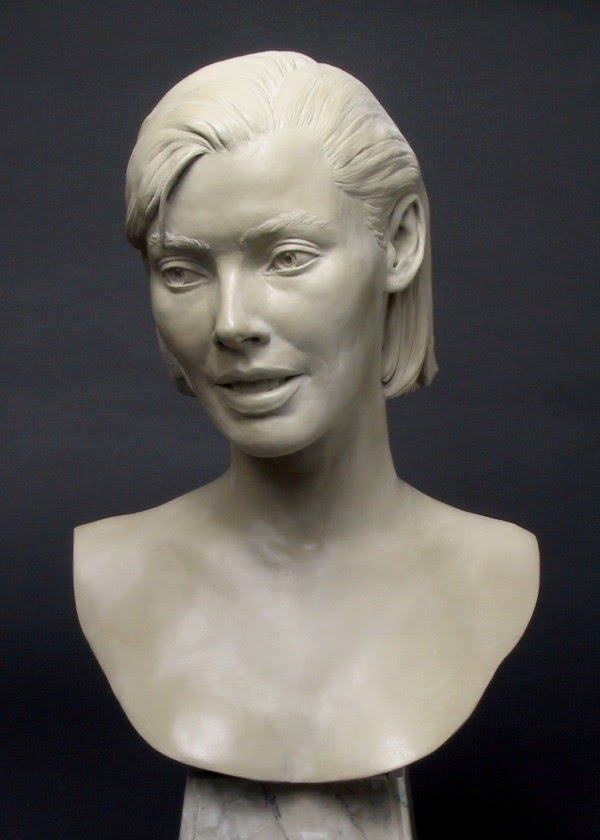 realistic life size portrait sculpture of a woman by lance richlin