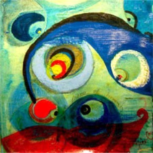 abstract painting of swirls