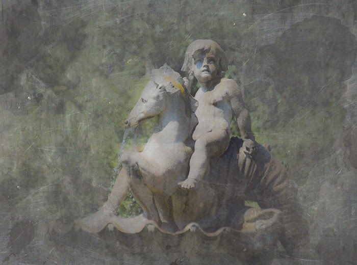digital photography cherub on horse