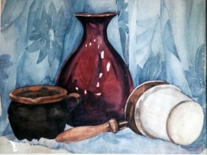 watercolor painting still life