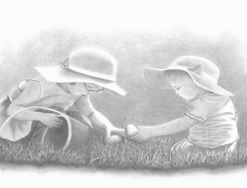 pencil drawing of 2 little girls