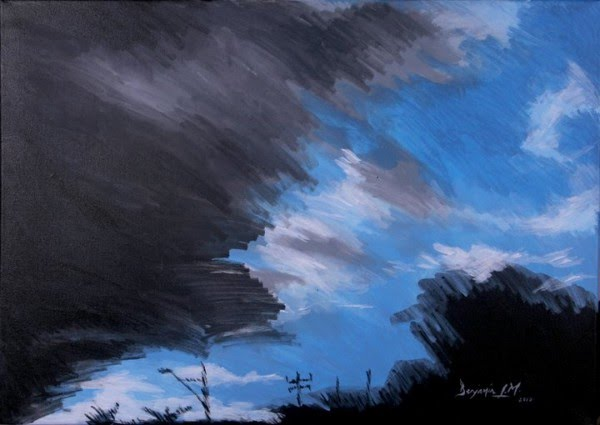 expressionist painting dark clouds