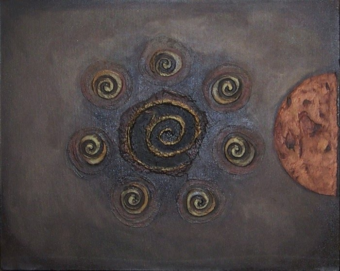 coffee bean series mixed media painting
