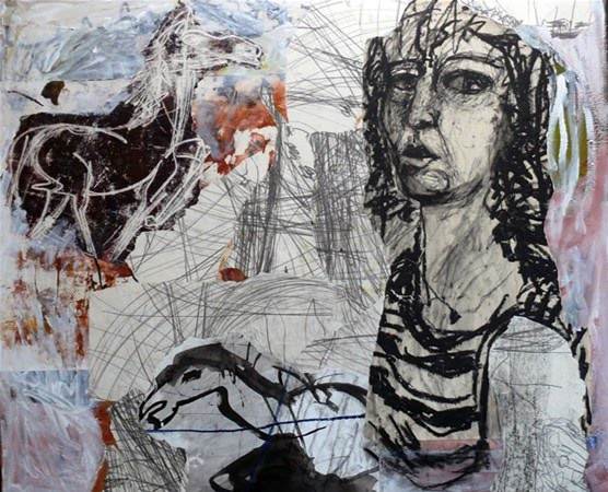 abstract mixed media drawing and painting by dutch artist marty poorter