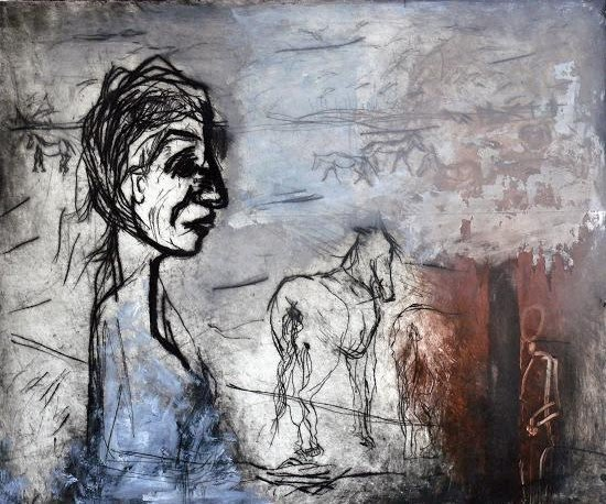 abstract painting of woman and horse