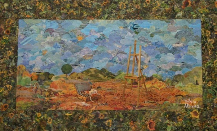 collage art beautiful landscape and easle