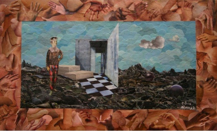 surreal figurative collage with open doorway by artist silvio alvarez