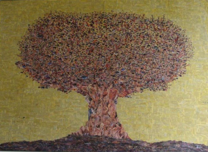 large tree mosaic collage by artist silvio alvarez