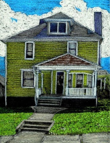 crayon drawings by john stuart of an old yellow 60s style 2 story house