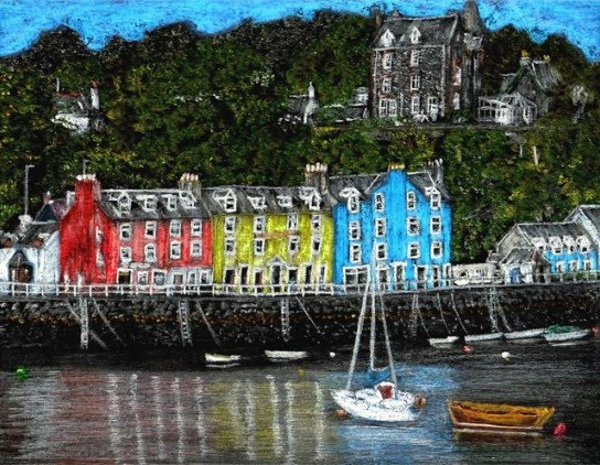 very detailed crayon drawing of Euruopean harbor town by artist john stuart