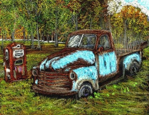 crayon drawing of an old rusted out chevy truck next to gas pump by artist john stuart