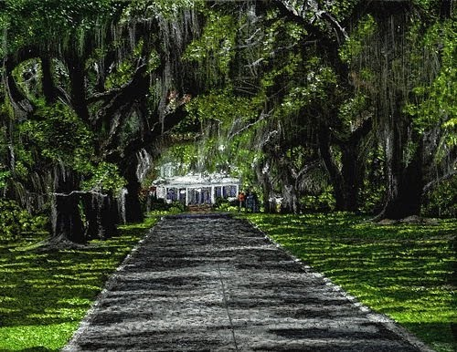 crayon drawing by john stuart of a tree lined driveway leading to a white cottage
