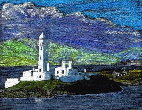 artist john stuart crayon drawing of an island with large lighthouse