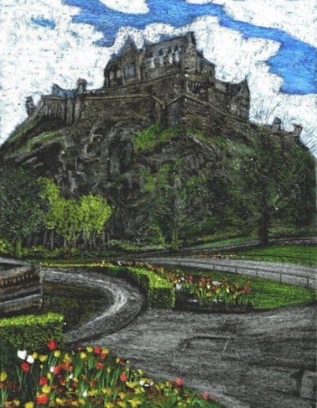 drawing of a castle on hilltop overlooking town by artist john stuart
