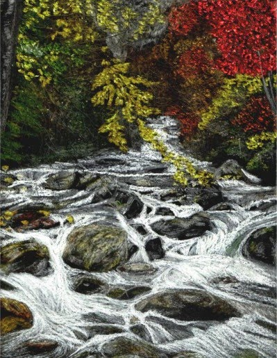 crayon drawing by john stuart of river with rocks and trees in nature