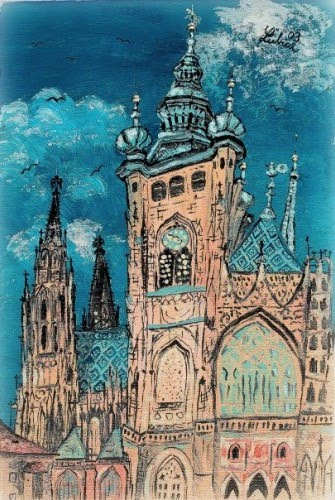 beautiful painting of a cathedral in eastern europe by artist lubica lintnerova